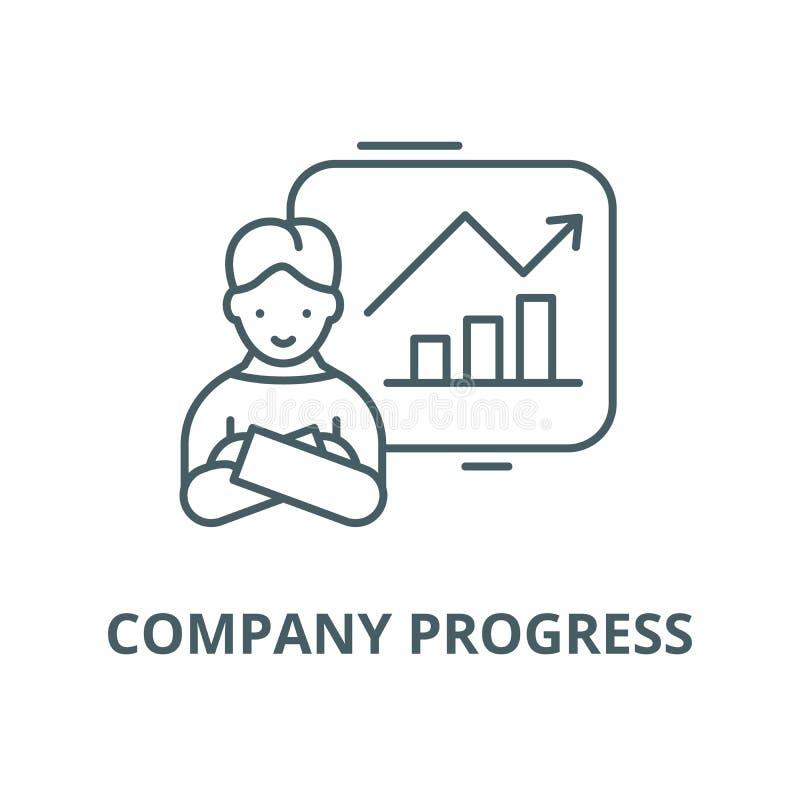 Линия значок прогресса компании, вектор Знак плана прогресса компании иллюстрация вектора