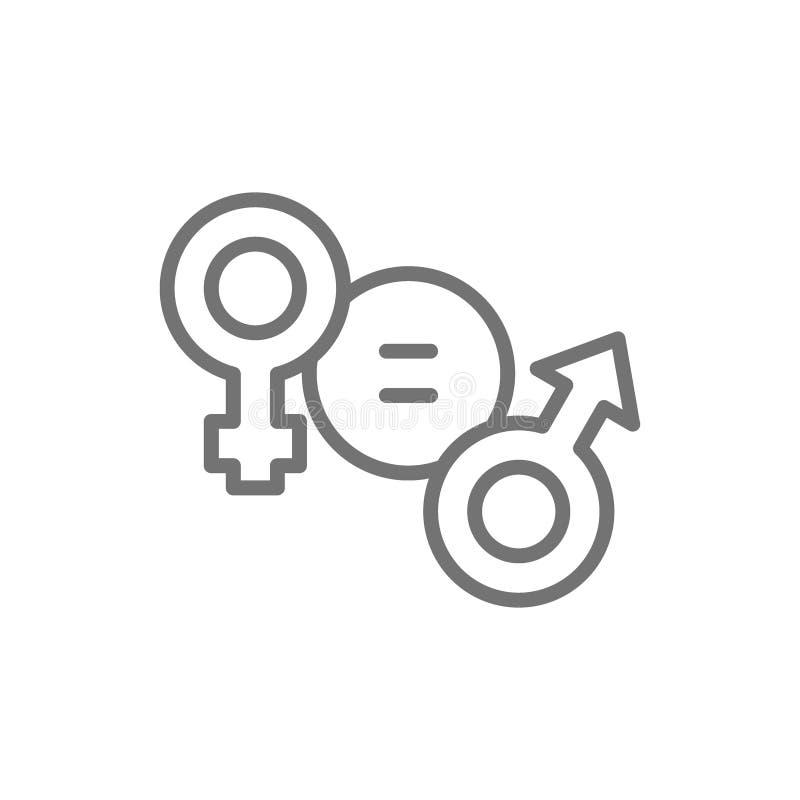 Линия значок равенства полов, женских и мужских символа иллюстрация штока