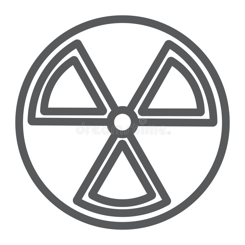 Линия значок радиации, предупреждение и символ, знак опасности, векторные графики, линейная картина на белой предпосылке иллюстрация вектора
