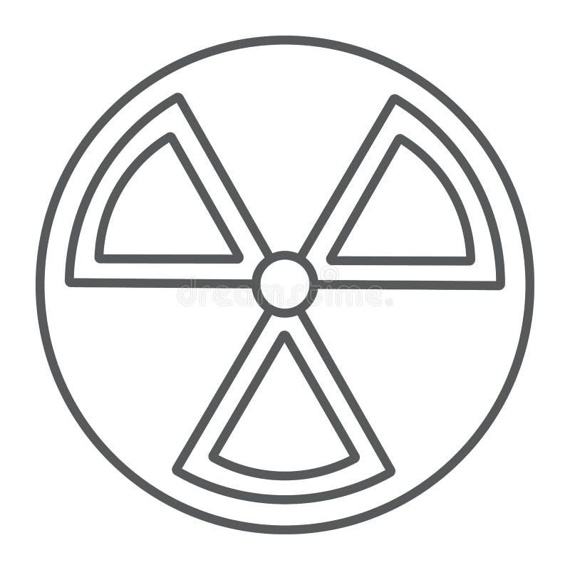 Линия значок радиации тонкая, предупреждение и символ, знак опасности, векторные графики, линейная картина на белой предпосылке бесплатная иллюстрация