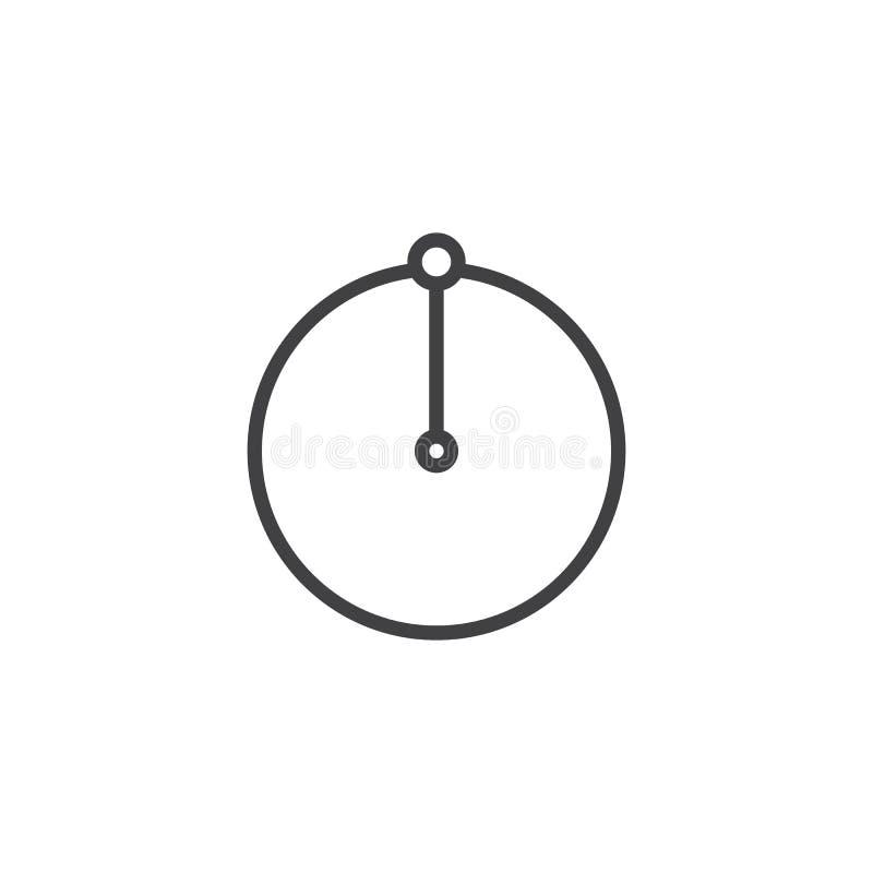 Линия значок радиуса круга иллюстрация вектора