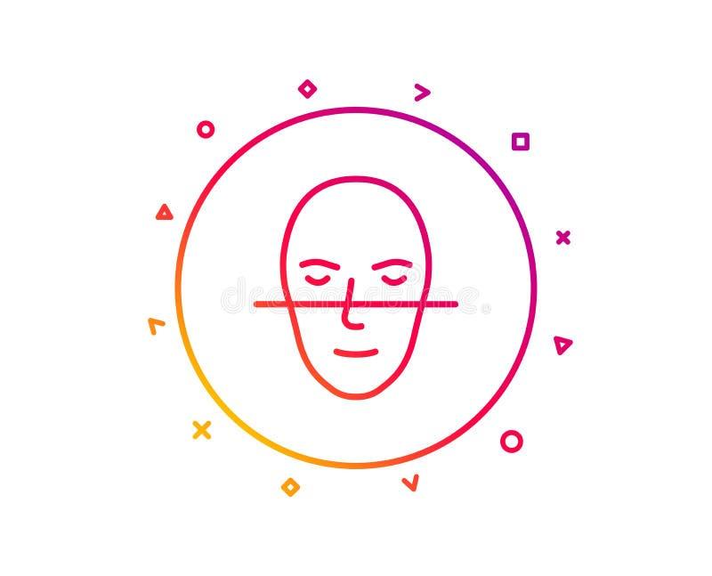 Линия значок распознавания лиц Смотрит на знак биометрии вектор иллюстрация штока