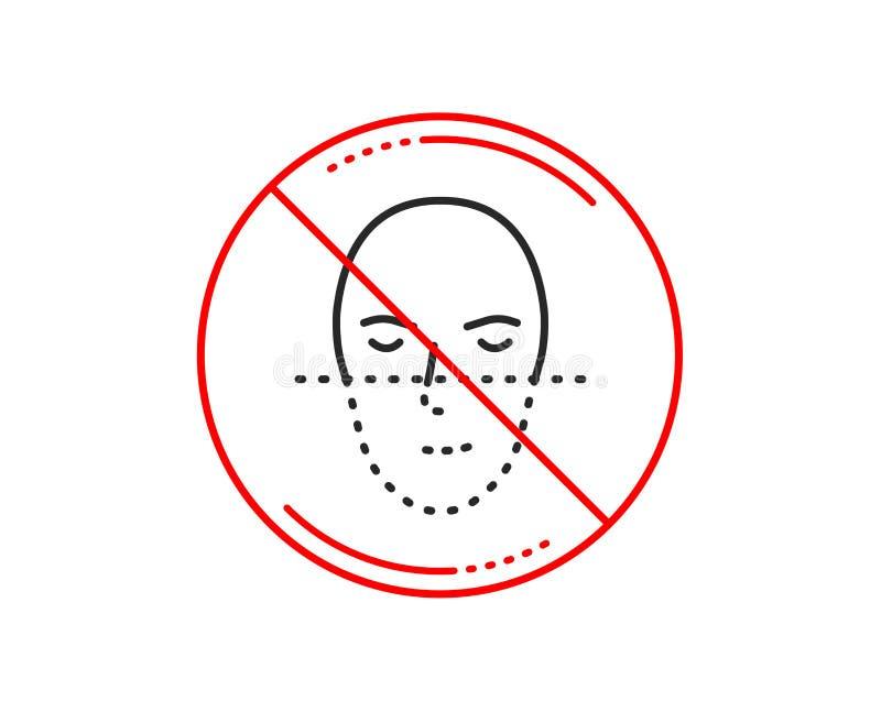 Линия значок распознавания лиц Смотрит на знак биометрии вектор иллюстрация вектора