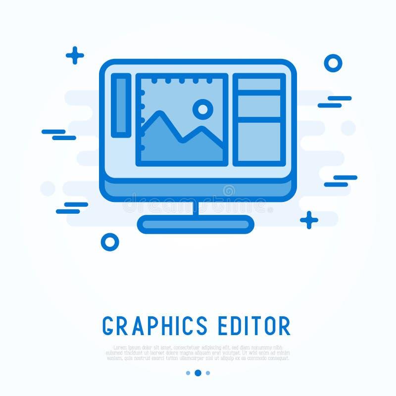 Линия значок редактора графиков тонкая бесплатная иллюстрация