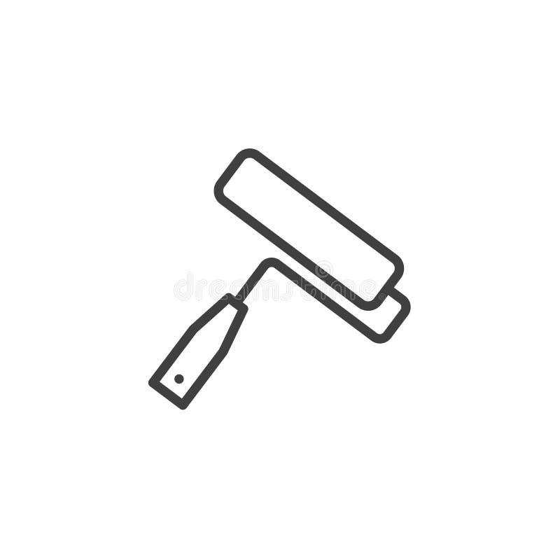Линия значок ролика краски иллюстрация вектора