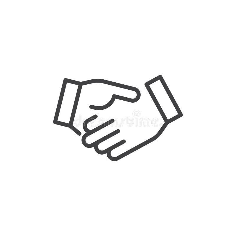 Линия значок рукопожатия дела иллюстрация штока