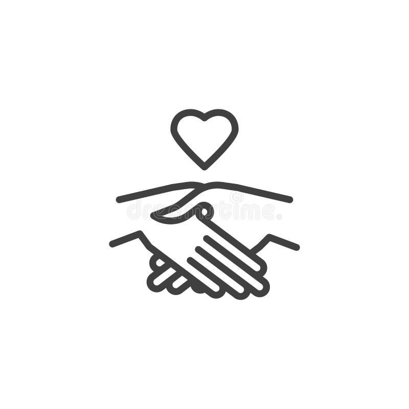Линия значок рукопожатия и сердца иллюстрация штока