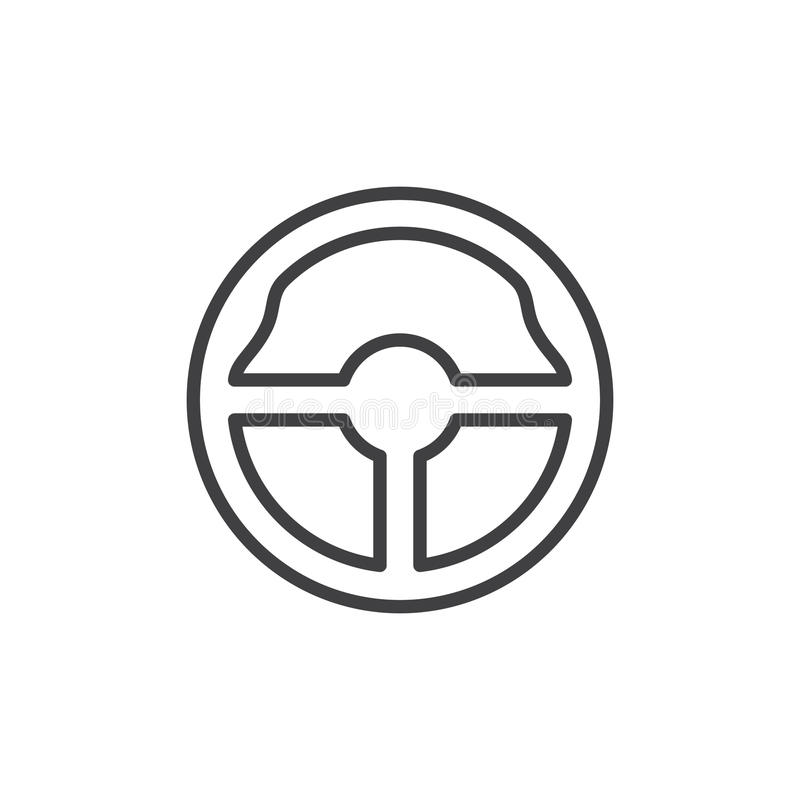 Линия значок рулевого колеса, знак вектора плана, линейная пиктограмма стиля изолированная на белизне бесплатная иллюстрация