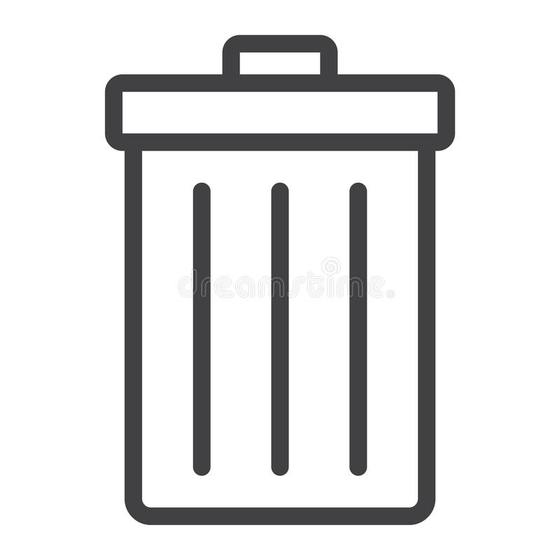 Линия значок, сеть и передвижная мусорного ведра, знак удаления иллюстрация штока