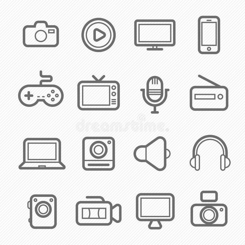 Линия значок символа прибора и мультимедиа иллюстрация штока