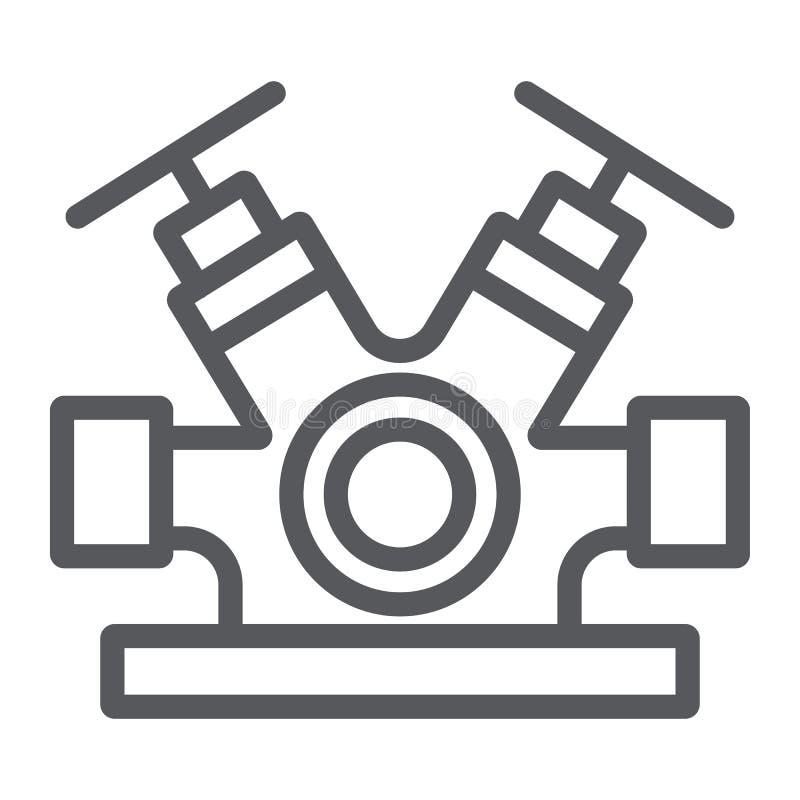 Линия значок системы гидранта, оборудование и аварийная ситуация, знак faucet гасителя, векторные графики, линейная картина на a бесплатная иллюстрация