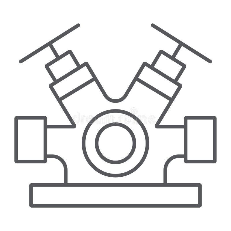 Линия значок системы гидранта тонкая, оборудование и аварийная ситуация, знак faucet гасителя, векторные графики, линейная картин иллюстрация вектора