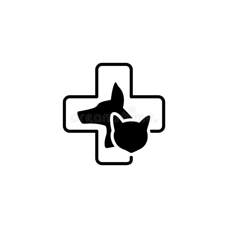 Линия значок Собака, кот и крест значка ветеринарной медицины иллюстрация вектора