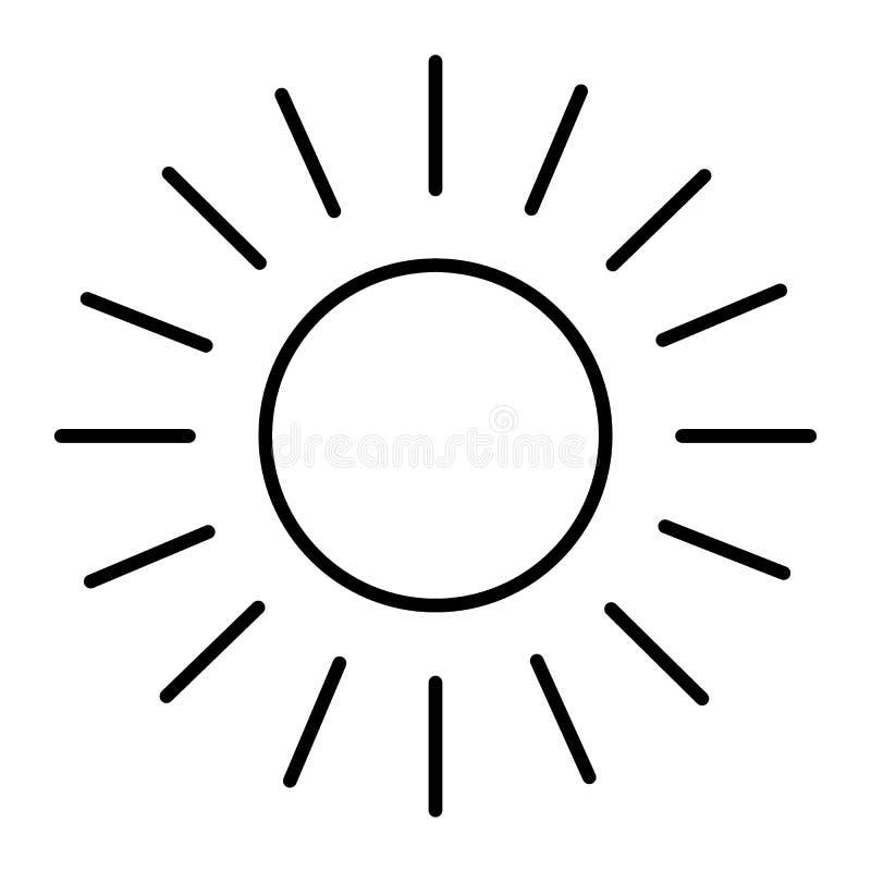 Линия значок Солнця тонкая Сияющая иллюстрация вектора солнца изолированная на белизне Стиль плана Солнця и лучей конструирует, к иллюстрация штока