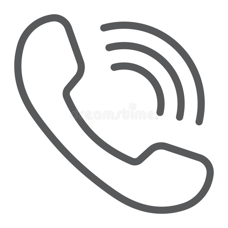 Линия значок, сообщение и поддержка телефонного звонка бесплатная иллюстрация