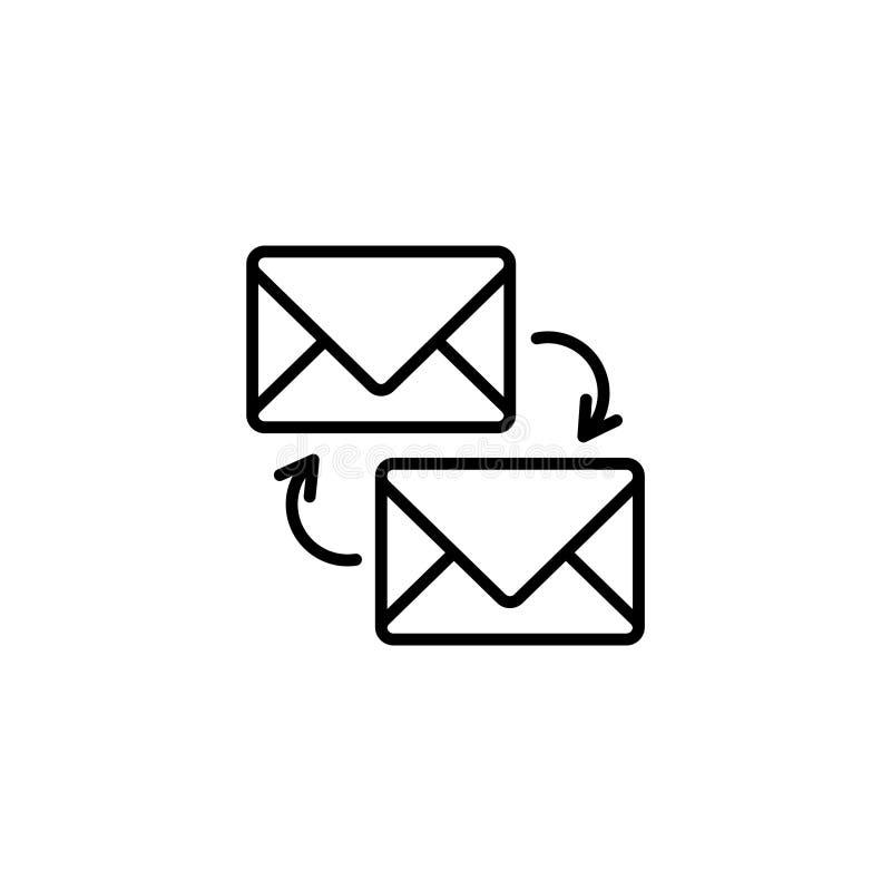 Линия значок Сообщения синхронизации иллюстрация вектора