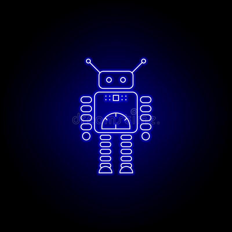 линия значок спидометра робота в голубом неоновом стиле r бесплатная иллюстрация
