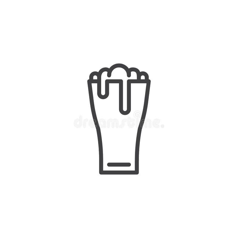 Линия значок стекла пива иллюстрация вектора