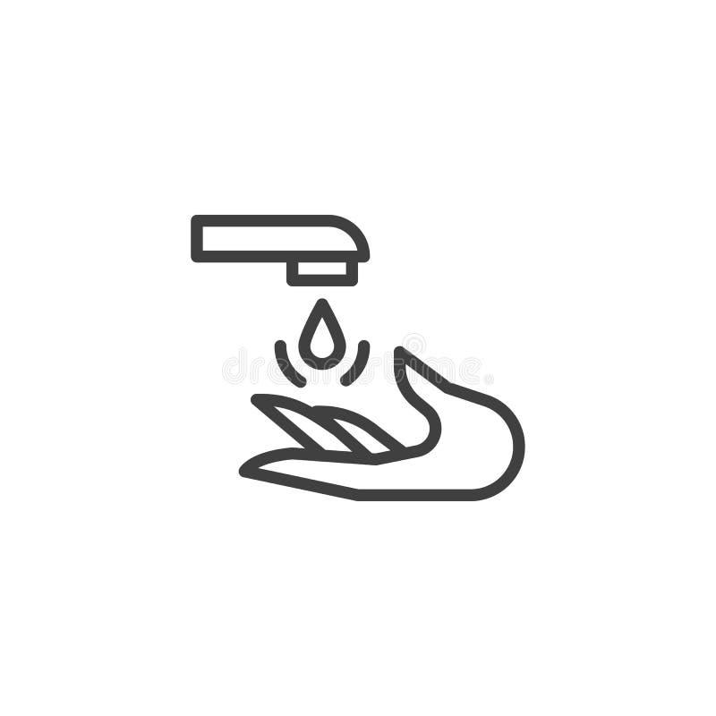 Линия значок стирки руки иллюстрация штока