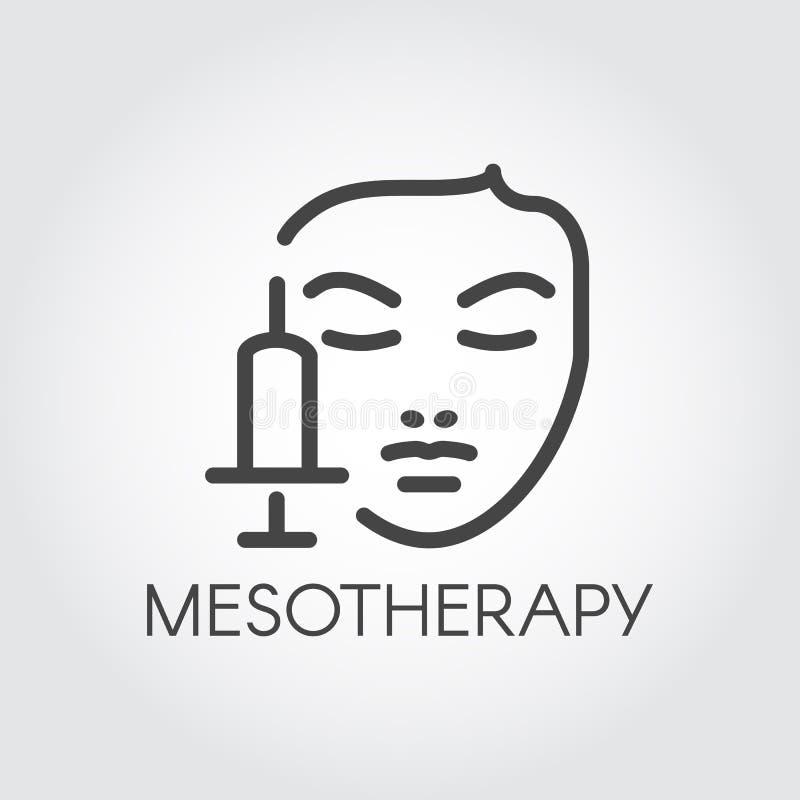 Линия значок стороны mesotherapy Медицинский или косметика для заботы кожи, подмолаживания, против старения ярлыка контура концеп иллюстрация штока