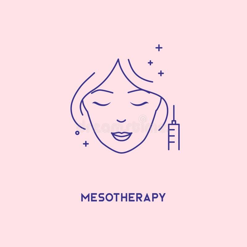 Линия значок стороны mesotherapy Hyaluronic кисловочная лицевая впрыска, шаблон дизайна знамени вектора Женский rejuvenating meso бесплатная иллюстрация