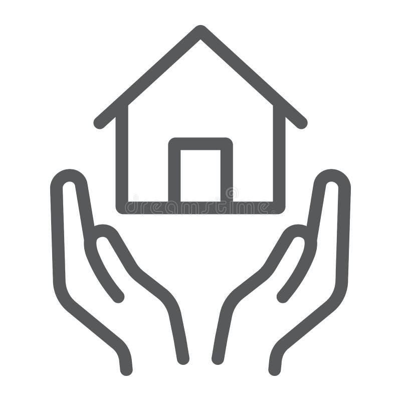 Линия значок страхования жилья, имущество и свойство, знак заботы дома, векторные графики, линейная картина на белой предпосылке иллюстрация вектора