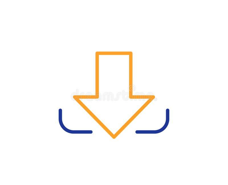 Линия значок стрелки загрузки Вниз наконечник вектор иллюстрация штока