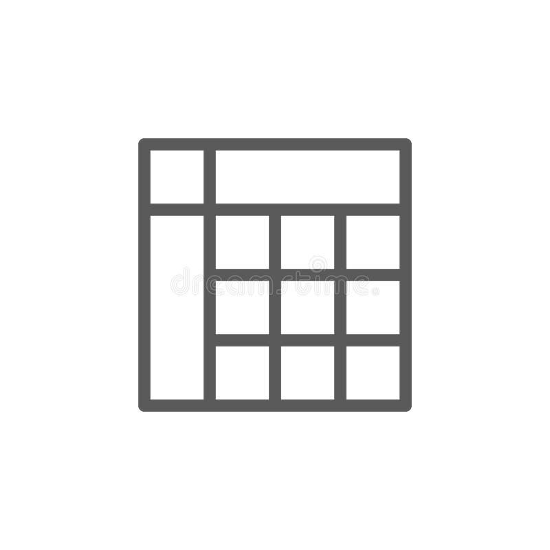 Линия значок таблицы расписания иллюстрация вектора