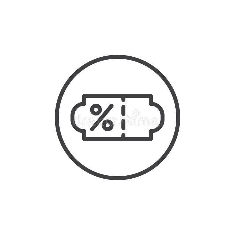 Линия значок талона процентов скидки иллюстрация вектора