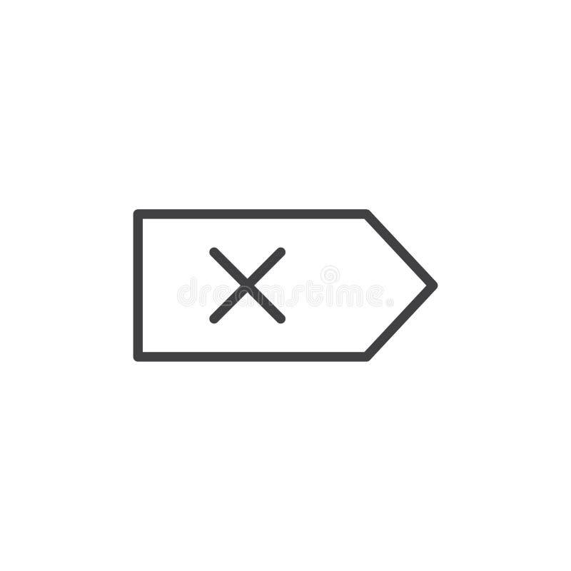 Линия значок текста удаления иллюстрация вектора