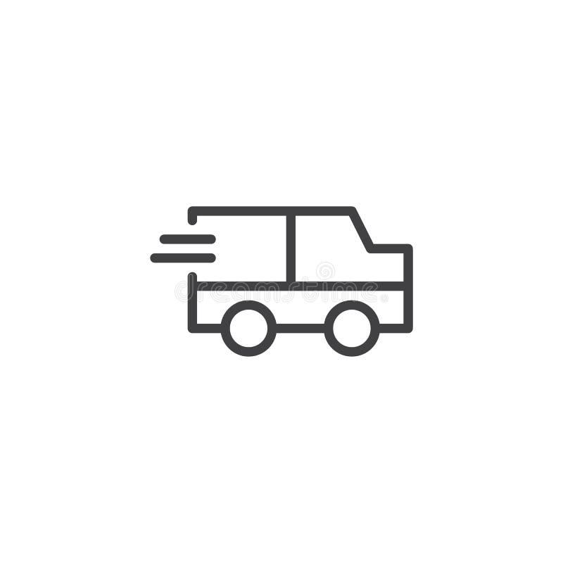 Линия значок тележки срочной поставки иллюстрация вектора