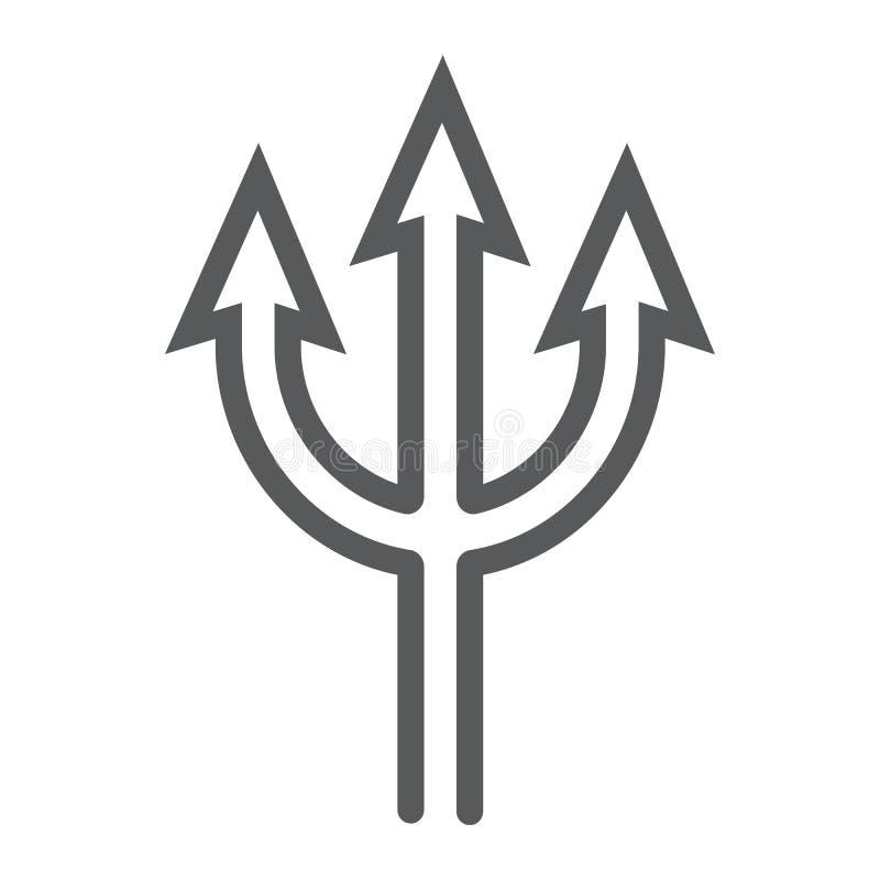 Линия значок трезубца, копье и дьявол, знак вилы, векторные графики, линейная картина на белой предпосылке иллюстрация штока