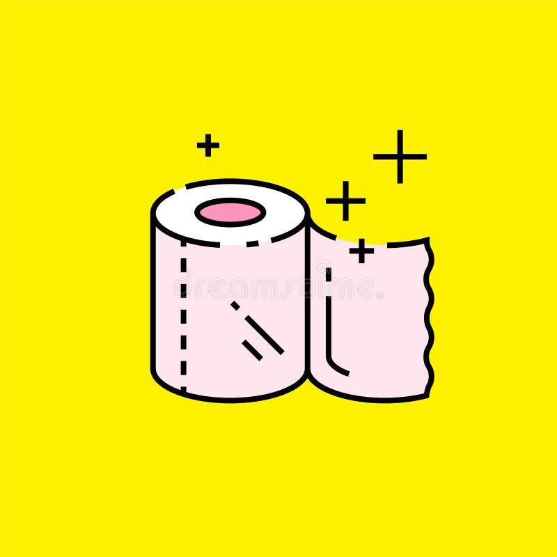 Линия значок туалетной бумаги иллюстрация вектора