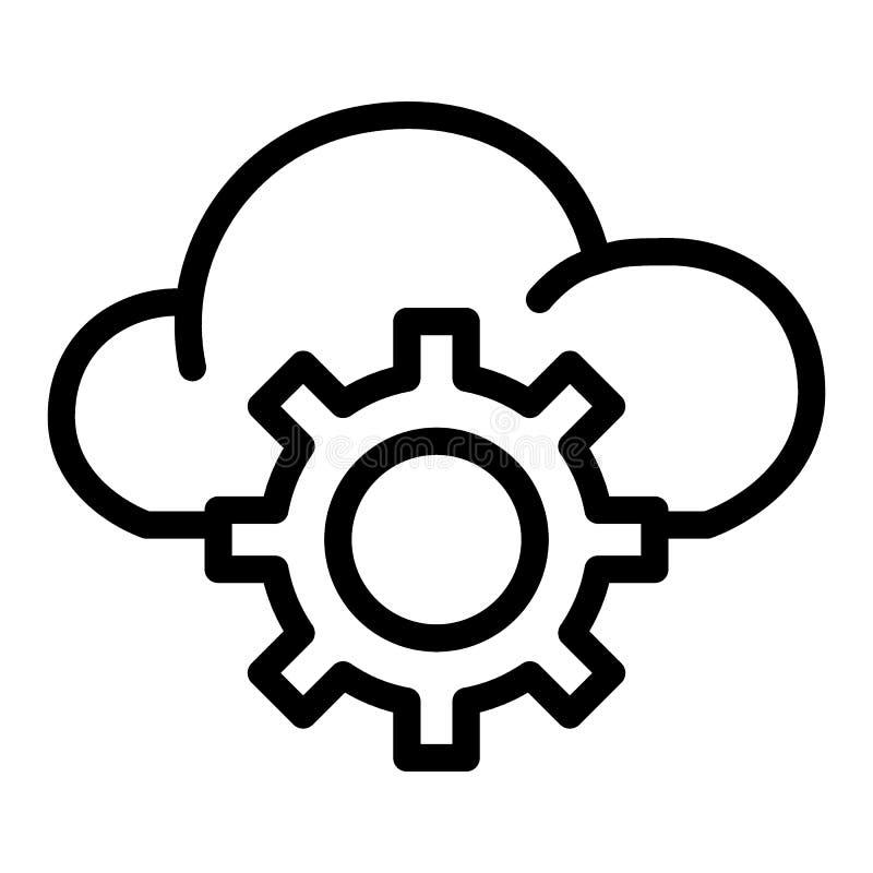 Линия значок установок хранения облака Заволоките при иллюстрация вектора шестерни изолированная на белизне Стиль плана обслужива иллюстрация вектора