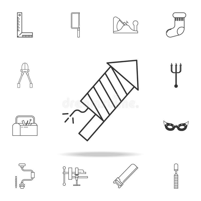 Линия значок фейерверка Детальный комплект значков и знаков сети Наградной графический дизайн Один из значков собрания для вебсай иллюстрация штока