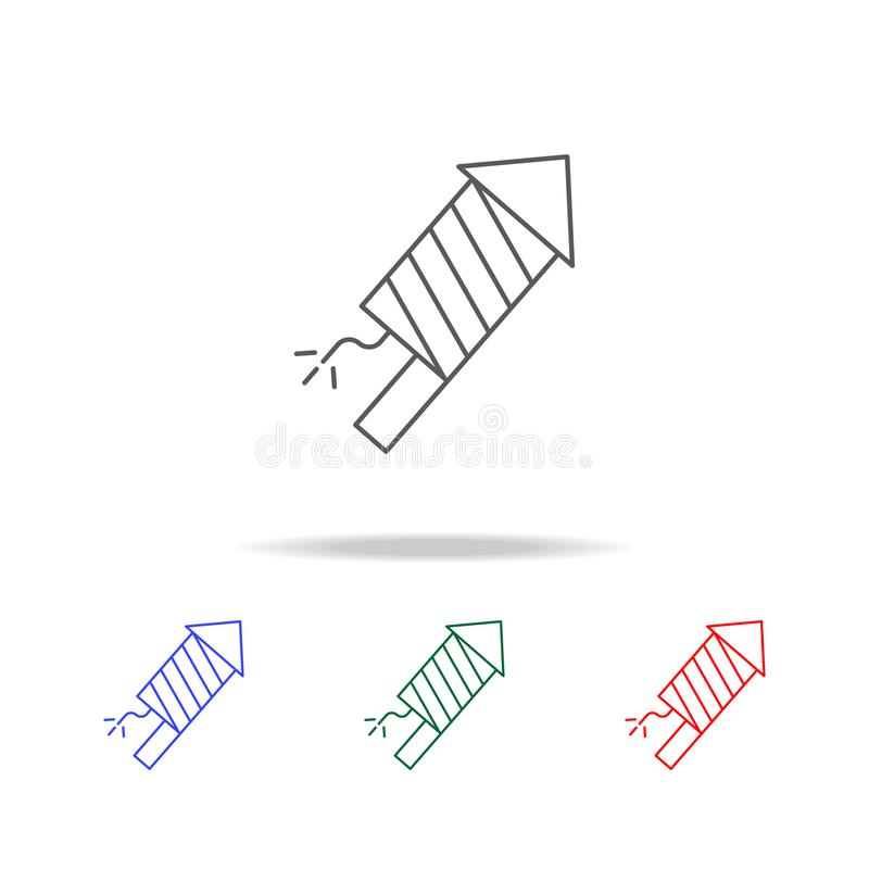 Линия значок фейерверка Элементы в multi покрашенных значках для передвижных apps концепции и сети Значки для дизайна вебсайта и  бесплатная иллюстрация