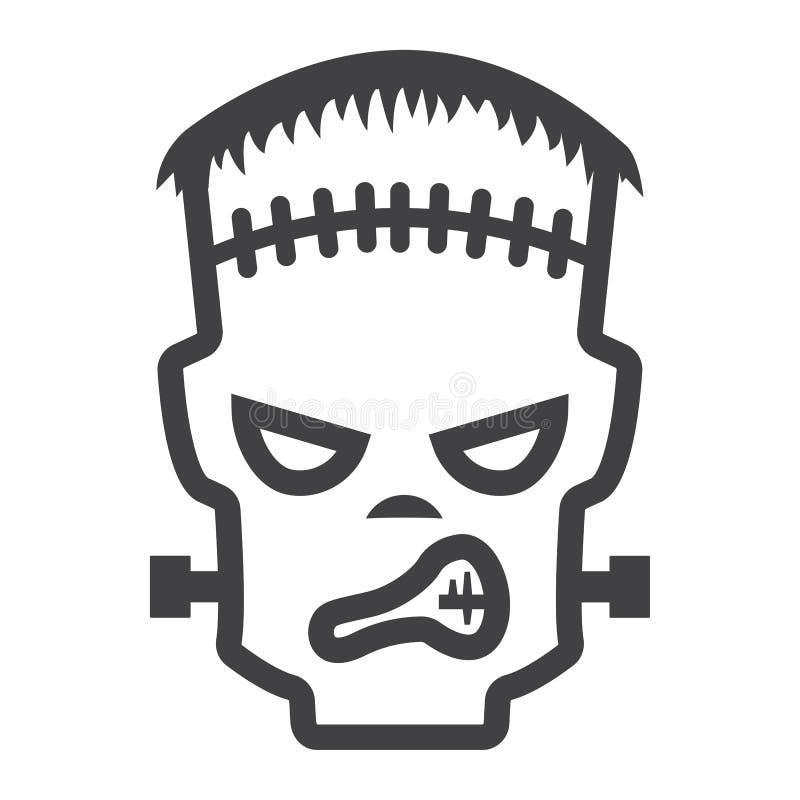 Линия значок, хеллоуин и страшное Frankenstein иллюстрация штока