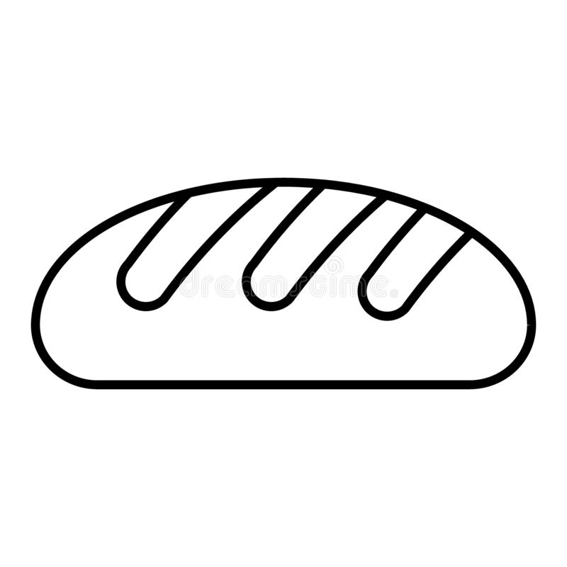 Линия значок хлеба пшеницы тонкая Иллюстрация вектора хлебца изолированная на белизне Дизайн стиля плана пекарни, конструированны иллюстрация вектора