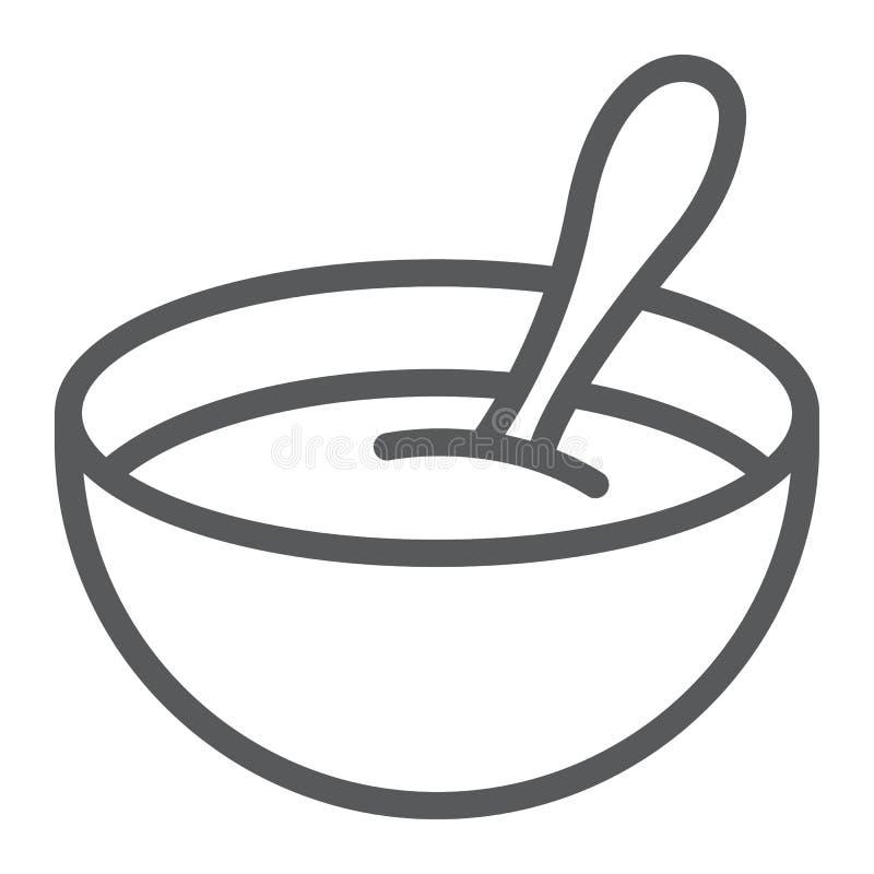Линия значок хлопьев младенца, еда и ест, знак блюда, векторные графики, линейная картина на белой предпосылке иллюстрация вектора