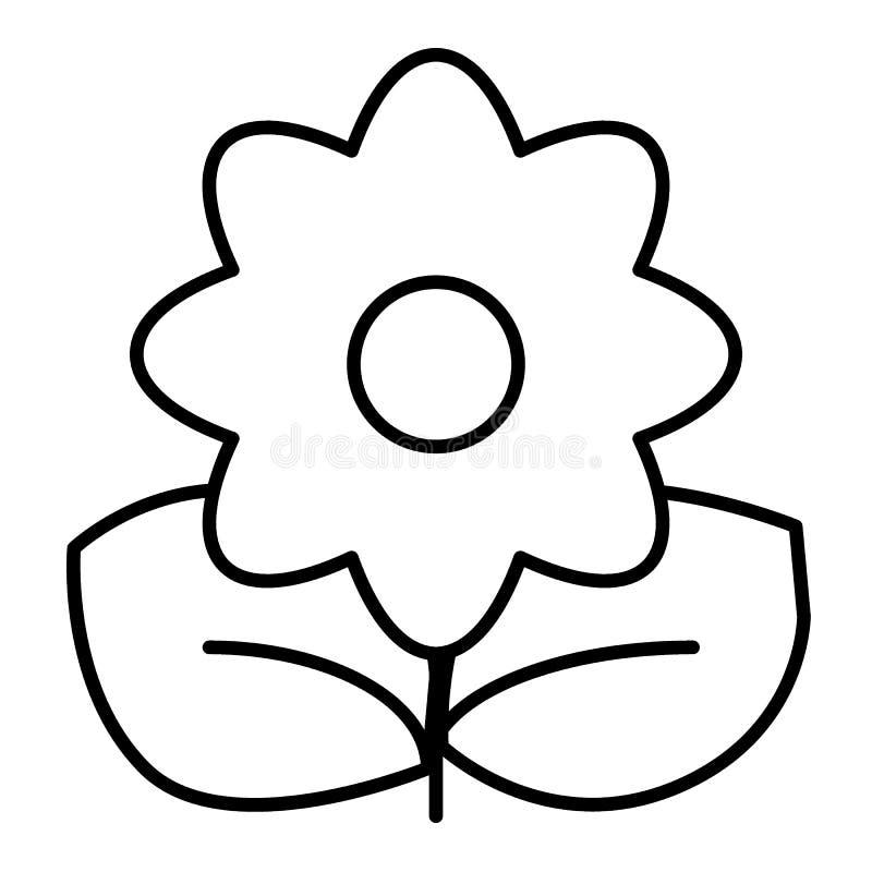 Линия значок цветка тонкая Иллюстрация вектора завода изолированная на белизне Флористический дизайн стиля плана, конструированны иллюстрация вектора