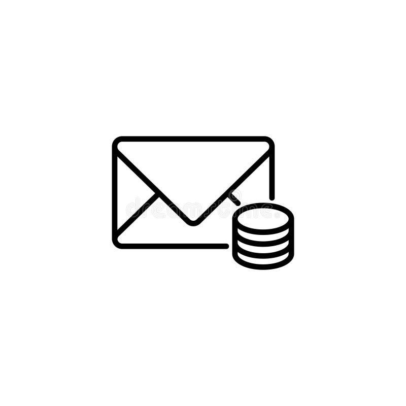 Линия значок Цена конверта связей и монеток, сообщения бесплатная иллюстрация