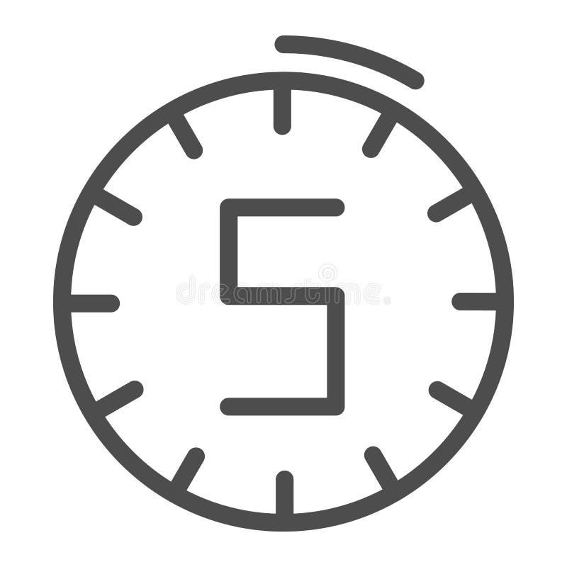 Линия значок часов 5 минут Иллюстрация вектора времени изолированная на белизне Дизайн стиля плана вахты, конструированный для се иллюстрация штока