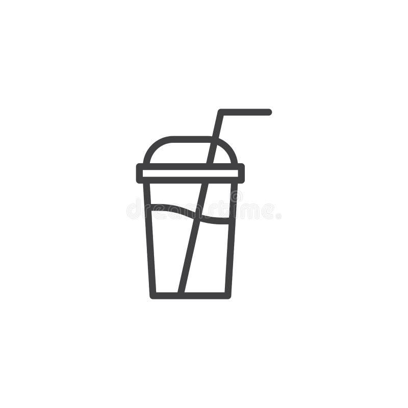 Линия значок чашки Milkshake бесплатная иллюстрация