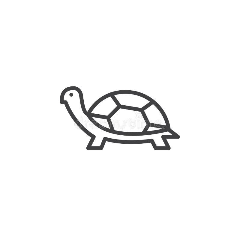 Линия значок черепахи, знак вектора плана иллюстрация вектора