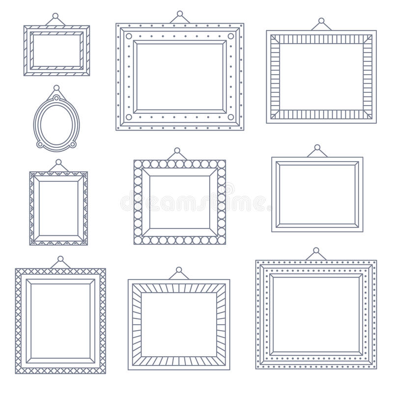 Линия значок шаблона символа чертежа украшения картины изображения фото рамки искусства установленный на стильную черную предпосы бесплатная иллюстрация