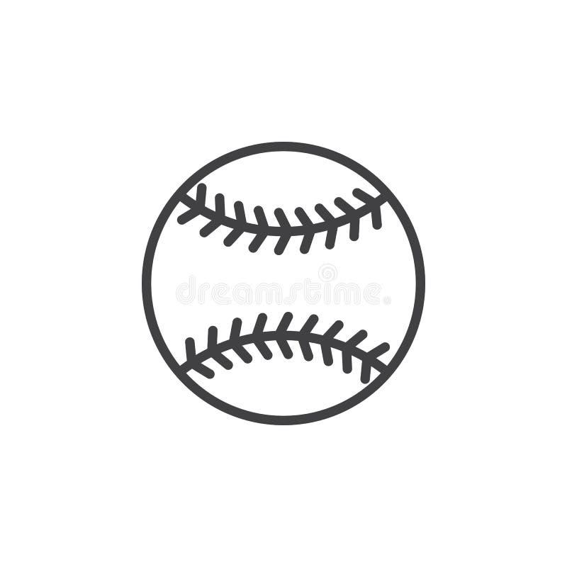 Линия значок шарика бейсбола, знак вектора плана, линейная пиктограмма стиля изолированная на белизне иллюстрация штока