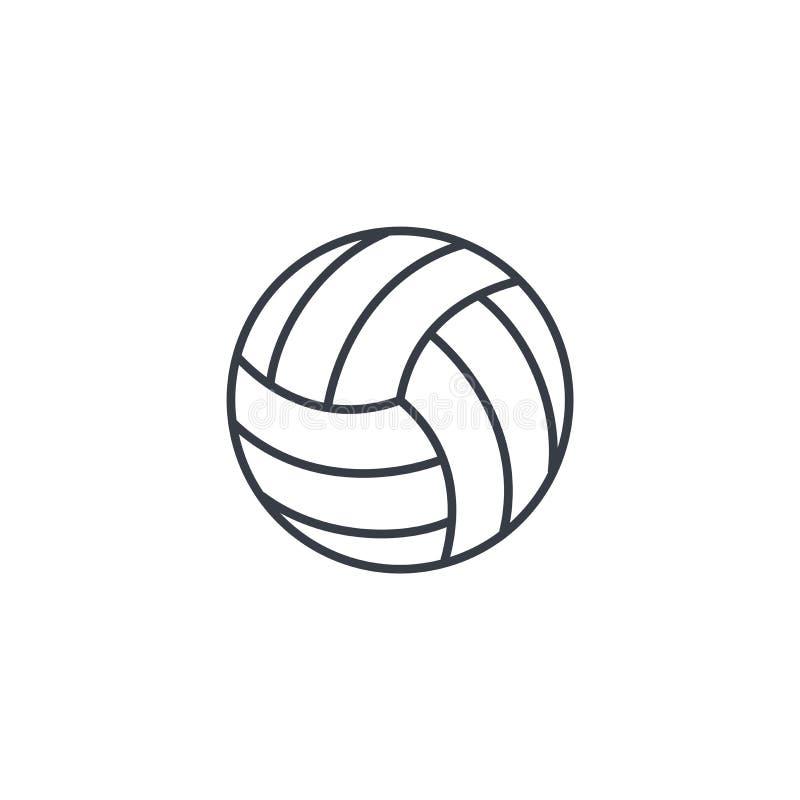 Линия значок шарика волейбола тонкая Линейный символ вектора иллюстрация вектора