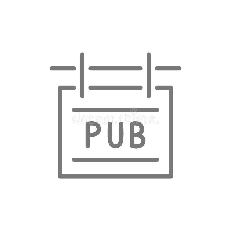 Линия значок шильдика паба иллюстрация штока