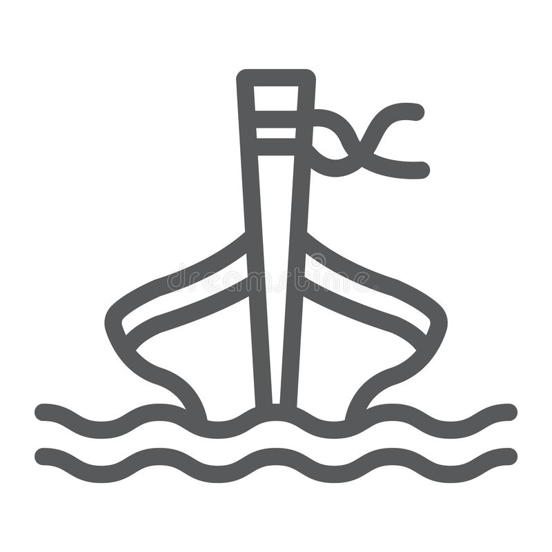 Линия значок шлюпки длинного хвоста, овцы и море, знак шлюпки tai, векторные графики, линейная картина на белой предпосылке иллюстрация вектора