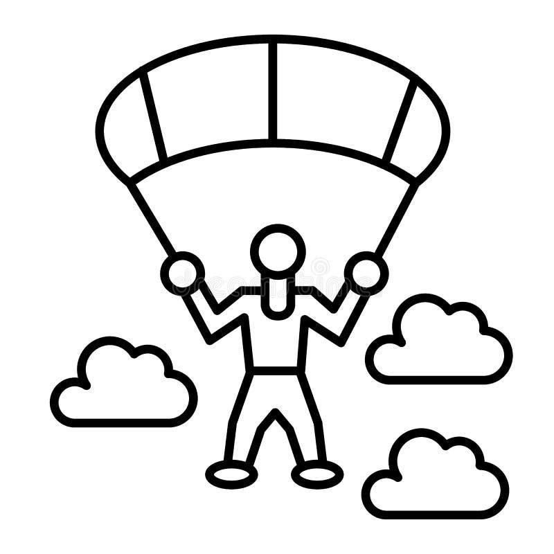 Линия значок шлямбура парашюта тонкая Parachutist и облака vector иллюстрация изолированная на белизне Парашютируя стиль плана иллюстрация вектора